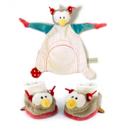 Neat-Oh Baby's First Plush Owl Security Blanket and Baby Booties with Rattle Set