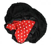 Onyx Arrow Baby Blanket, Red White Polka Dot Cotton Print, Black Minky Dot, Satin Ruffle Trim, Mix and Match