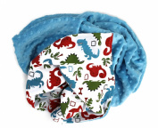 Onyx Arrow Baby Blanket, Dinosaur Cotton Print, Sky Blue Minky Dot, No Ruffle, Mix and Match