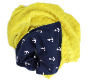Onyx Arrow Baby Blanket, Navy White Anchors Cotton Print, Yellow Minky Dot, No Ruffle, Mix and Match