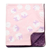 My Blankee Garden Cotton Pastel with Dot Velour Violet and Satin Pipping Border, Baby Blanket 80cm X 90cm