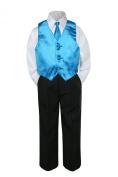 Leadertux 4pc Formal Baby Teen Boys Turquoise Blue Vest Necktie Black Pants S-14