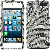 Zebra Silver Black Bling Rhinestone Crystal Case Cover Diamond Skin Faceplate For Apple iPod iTouch 5