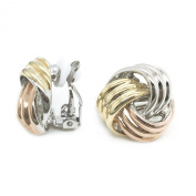 Love Knot Three tone Rhodium, Yellow and Rose Gold Plated Clip On Earrings