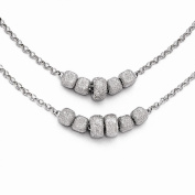 Leslies Sterling Silver Diamond Cut Beaded Two Strand Necklace