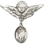 Sterling Silver Baby Badge with St. Amelia Charm and Angel w/Wings Badge Pin 2.9cm X 2.9cm