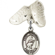 Sterling Silver Baby Badge with St. Tarcisius Charm and Baby Boots Pin 2.5cm X 1.6cm