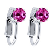 2.00 Ct Round Pink Created Sapphire 925 Sterling Silver Clip On Earrings