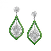 Cristina Sabatini Morning Star Earrings with. Zirconia in Rhodium over Sterling Silver