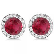 Diamond and Ruby Earrings Halo Studs Designed for Women 14K White Gold