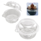 100 Clear Plastic Mini Cupcake Container Cake Muffin Case Dome Holder Box Container