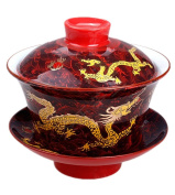Moyishi Chinese Porcelain Gaiwan Nice Red Dragon Tradition Sancai Tea Cup Tea Set Best Gift
