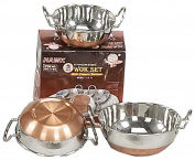 3 Piece Stainless Steel- With Copper Bottoms Wok Set
