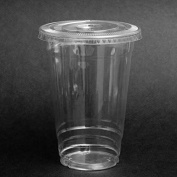 SafePro 100 Sets 710ml Plastic CLEAR Cups with FLAT Lids for Iced Coffee Bubble Boba Tea Smoothie