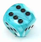 Teal and White Gemini Dice With Gold Pips 50mm (2in) D6 Die Chessex