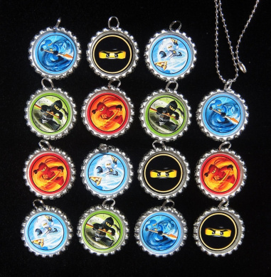 15 NINJAGO Flat Bottle Cap Necklaces for Birthday, Party Favour Set 1