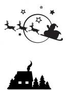 Darice 1218-40 Embossing Folder, 11cm by 15cm , Santa's Flying Sleigh Design