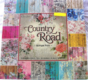 Country Road 12x12, the Paper Studio, Barnwood, Shabby, Vintage, Floral, Damask, Scrapbook, Cardmaking Paper Pack 80 Sheets