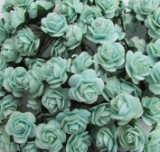 50 pcs mini Rose 15 mm Mint Green Mulberry Paper Flowers handmade craft project cardmaking Floral Valentine