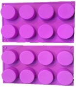(2 Pack) 8-Cavity Round Silicone Mould for Soap, Cake, Bread, Cupcake, Cheesecake, Cornbread, Muffin, Brownie, and More
