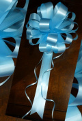 Baby Blue Pull Bows with Tails - 20cm Wide, Set of 6