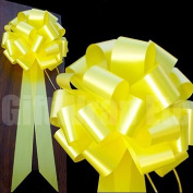 Yellow Pull Bows with Long Tails - 23cm Wide, Set of 6, Support Our Troops Ribbon