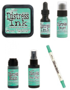 Tim Holtz Ranger Distress - January 2015 Colour - Cracked Pistachio - Ink Pad, Stain, Paint, Spray Stain, Re-inker and Marker Bundle
