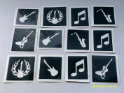 10 x music themed stencils for etching on glass (mixed) note guitar violin saxophone