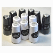 Set of 12 Black & White Serger Embroidery Thread Cones by Allary