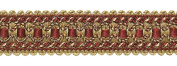 Burgundy Red, Gold 3.2cm Imperial II Gimp Braid Style# 0125IG Colour