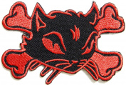 Kitty Cat Cross Bone Logo Lady Rider Biker Punk Rock Heavy Metal Tatoo Patch Sew Iron on Embroidered Sign Badge Costume Clothing