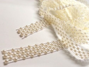 2m X 14mm Wide Ivory Vintage Pearl Beaded Lace Bridal Wedding Trim Ribbon, Craft