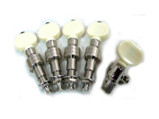 Generic 5 String Banjo Tuning Peg Machine Head Nickel Plated Ivory Plastic Button, 4 Long and 1 Short, 5pcs in One Set