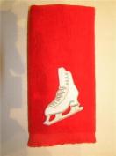 Ice figure skate skating blade towel red skater