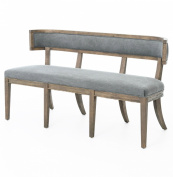 Livingston Modern Classic Curved Back Grey Dining Bench