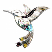 Sterling Silver Hummingbird with Inlaid Shell Pin/Pendant