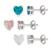 Sterling Silver Blue, Pink & White Created Opal Set of 3 Heart 6mm Basket-set Stud Earrings