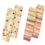 Set of 2 Cute Colourful Stripe & Flower Baby Girl Leg Wamers Comfy Leg Guards,0-3Y
