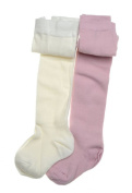 2 pairs of Plain Pink & Cream Baby Tights