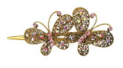 Ladies Chunky Vintage Gold Tone Metal Hair Claw Concord Clip 2 Butterflies Pink