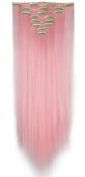 S-noilite 26 Inches(66cm) Long Straight Light Pink Full Head Clip in Hair Extensions 8 Piece 18 Clips Hairpiece Trendy Design