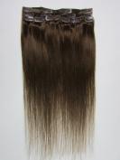 "Hair Extensions Medium Brown Clip In Extensions 100% Human Hair 18""/45 cm 7 Pcs 70g"