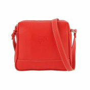 Square leather bag with shoulder strap