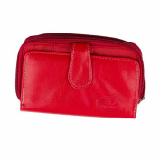 Fascchino Leather Wallets Purse Clutch Red Leather Purse with Multiple Credit Card Slots and Pockets