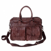 Leather bag garment-dyed vintage style 2 handles strap DUDU Cocoa Brown