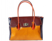 "FIRENSE - Shoulder Bag, Handbag made of cowhide ""Neapel"" 37 × 25 × 14 cm, yellow / blue"