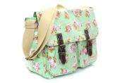 Vintage Roses Design Saddlebag / Satchel Made From EasyClean Material - Ideal Girls School Bag