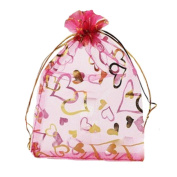 Organza Drawstring Gift Bag For Party/Game/Wedding Pack of 100 Rose Red 13*18CM