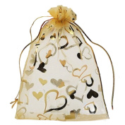 Pack of 100 Organza Drawstring Gift Bag For Party/Game/Wedding Golden 13*18CM