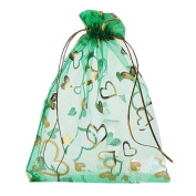 Pack of 100 Organza Drawstring Gift Bag For Party/Game/Wedding Green 13*18CM